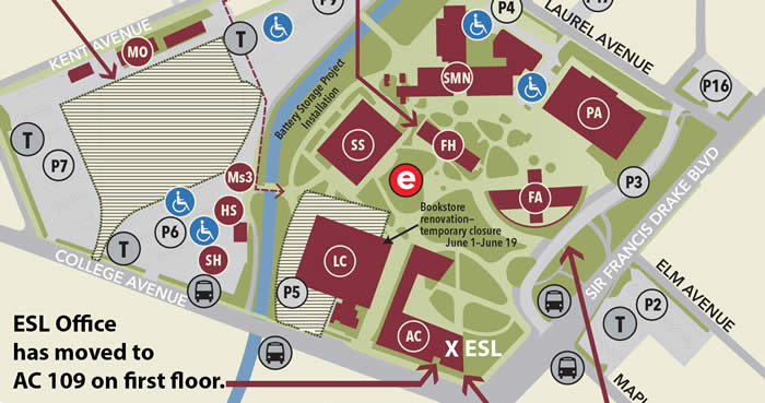 Map of New ESL Office Location in the Academic Center